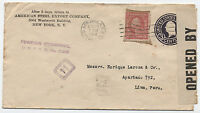 1918 Censored cover NY to Peru with Reused Perfin Stamp [1697]