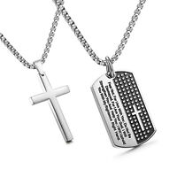 Stainless Steel Dog Tags Cross Necklace for Men Lord's Prayer Pendant for Mens