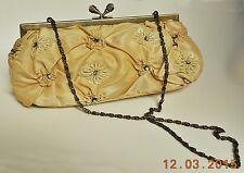 BEIGE or LIGHT GOLD SEQUIN EMBELLISHED BEADED EVENING BAG w/ BRONZE METAL HANDLE