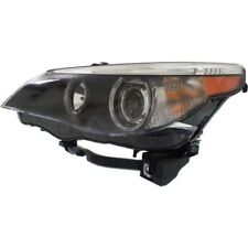 For 530xi 06-07, Driver Side Headlight, Clear Lens; Black Interior