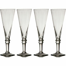 Set of 4 Clear Ribbed Champagne Flutes Wine Flute Drinks Party Wedding Glasses