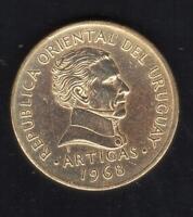 1968 URUGUAY 1 PESO COIN ARTIGAS - EXCELLENT LUSTROUS SHINY UNC