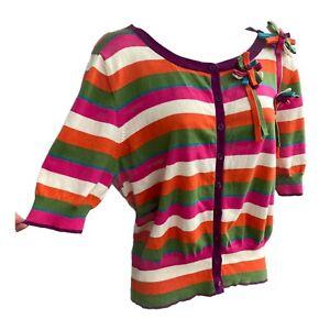 PHASE EIGHT Cardigan 14 16 UK Stripe Bright Cropped 3/4 Sleeve Rainbow Cotton
