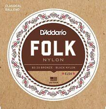 D'Addario EJ34 Folk 80/20 Bronze Black Nylon Ball End Classical Guitar Strings