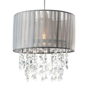 Light Shade Easy Fit Silve Linen Drum Pendant Lamp Shade with Crystal Chandelier