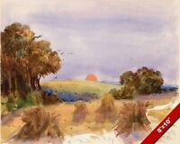 A CORNFIELD HARVEST AT SUNSET FARMING WATERCOLOR PAINTING ART REAL CANVAS PRINT