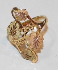 Black Hills Gold 10 kt 12 kt  Large Multi Leaves Ring South Dakota Gold Size 7