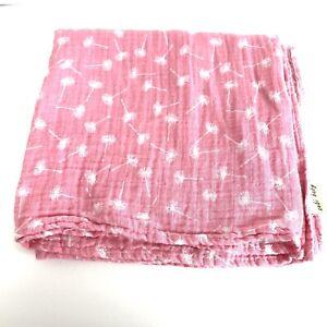 "Zebi Baby Swaddle Blanket Girl Organic Cotton Muslin Dandelion Pink  47"" x 49"""