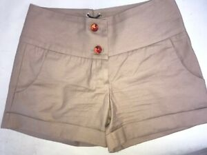 Betsey Johnson New York brown shorts w/ ties & jewelled buttons 6US Made in USA