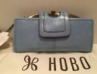 Hobo International Nova Light Blue Mist Leather Wallet Wristlet Clutch NWT RARE