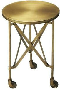 ACCENT TABLE INDUSTRIAL CHIC DISTRESSED ANTIQUE GOLD IRON BRONZE