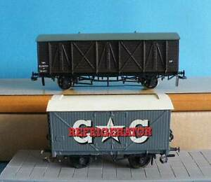 2 Unknown Make 4mm OO Kit Made GWR Plastic Bloater Fish & Brass Refrigerator Van