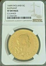 1668 NGC graded VF UK ENGLAND REX CHARLES II 5 GUINEAS GOLD COIN RARE