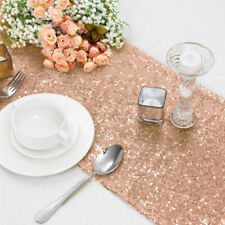 """Rose Gold Glitter Sequin Table Runners Cover 12""""x108"""" Sparkly Wedding Party UK"""