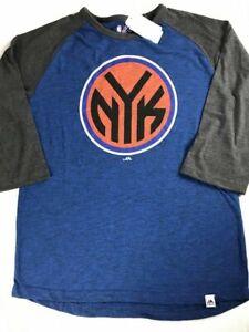 New York Knicks 3/4 Sleeve T-Shirt Womens L/XL Majestic NBA Basketball NEW Tee