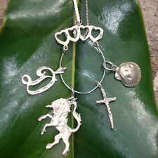 Necklace - Vintage - Sterling silver serpentine chain, charm holder, charms