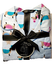 Noire Blue Flannel 2 Piece Pajama Set with Dachshund Dog Design Size S