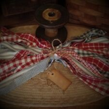 """50 Homespun Fabric Strips~Red~White~Blue 1"""" x 18"""" ~Crafts~Ties~Primitives~"""