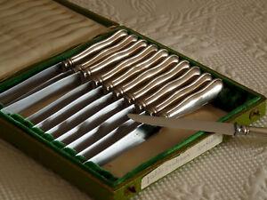Service ancien de 10 couteaux à dessert Christofle