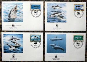 MONSERRAT 1990 WWF Set of 4 Souvenir FDC's with Special Cancel DM165