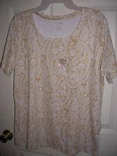 WOMENS shirt size X-large 16-18 khaki paisley COTTON  white stag Scoop neck