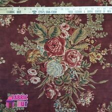 Home Decor Maroon Flower Print Heavy Upholstery Fabric by the Yard