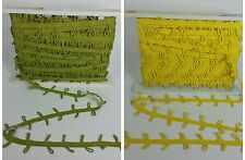 Lot of 2 Vintage Conso Green (32 yards) & Yellow Trim (21 yards) Vat Dyed Loops