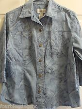 VILLAGER LADIES SIZE LARGE BLUE PAISLEY SHIRT/TOP/BLOUSE-FRONT BUTTON-3/4 SLEEVE