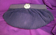 VINTAGE NAVY BLUE PLEATED CLUTCH HANDBAG HAND LOOP RHINESTONE CLASP