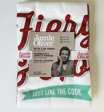 Jamie Oliver Tea Towels Fiery and Hot Just Like the Cook Red Green Set 2 NEW