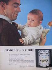 PUBLICITÉ 1959 LAIT CONCENTRÉ SUCRÉ NESTLÉ TENDRESSE SÉCURITÉ BÉBÉ - ADVERTISING