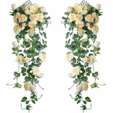 2PC Artificial Rose Vine Silk Flower Garland Hanging Baskets Plants Home Decor