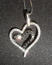 9ct W/Gold Natural 0.25c Black & White Diamond Double Heart Pendant & 14ct Chain