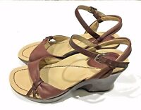 Dansko Burgundy Leather Open Toe Ankle Strap Buckle Sandals Shoes Womens 7.5-8 M