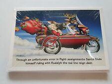 HARLEY DAVIDSON CHRISTMAS CARDS #X481 HARLEY RUDOLPH & SANTA IN SIDECAR (100PK)