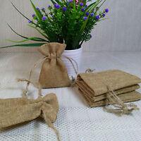 20/50/100pcs  7cm*10cm Small Vintage Wedding Hessian Burlap Jute Favour Gift Bag