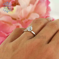 1.10 Ct Pear Cut Diamond Solitaire 14K White Gold Over Engagement Wedding Ring