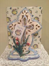 "Blue Sky Clayworks Heather Goldminc Easter Cross Large tealight Votive 10"" Nib"