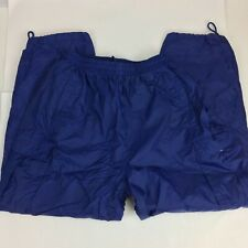 Nylon Lined Zip Off Pants XL L Waterproof Cargo Drawstring Shorts Blue Pockets