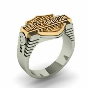 HARLEY DAVIDSON MOTOR CYCLE Men's Biker Ring In Two Tone Gold Plated 925 Silver