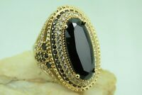 Turkish Handmade Jewelry 925 Sterling Silver Onyx Stone Women Ring Sz 9