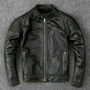 Mens Vintage Brando Motorcycle Biker Black Distressed Real Leather Jacket