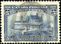Used Canada 1908 5c F+ Scott #99 Quebec Tercentenary Issue Stamp