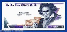De La Rue Giori S.A. Varinota Beethoven Uniface Intaglio Specimen Test Note Unc