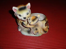 "VINTAGE CERAMIC PLANTER MOMMA CAT & KITTEN 5"""