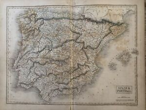 1840 Spain & Portugal Original Antique Hand Coloured Map by Sidney Hall