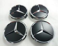Genuine Mercedes-Benz Set of X4 Matt Black Alloy Wheel Hub Cap / Centre Caps NEW
