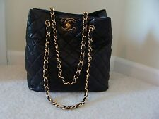 AUTHENTIC  VINTAGE CHANEL QUILTED LAMBSKIN  LEATHER HANDBAG WITH GOLD HARDWARE