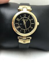 ARMITRON ANALOG WOMEN'S DRESS WATCH BLACK LEATHER BAND 75/5338BKGP GOLD TONE-H36