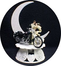 Motorcycle Wedding Cake Topper W/ GREEN Harley Davidson Funny Groom Top Bike
